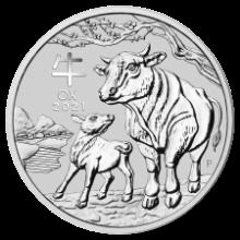 1oz Lunar Ox Silver coin rev